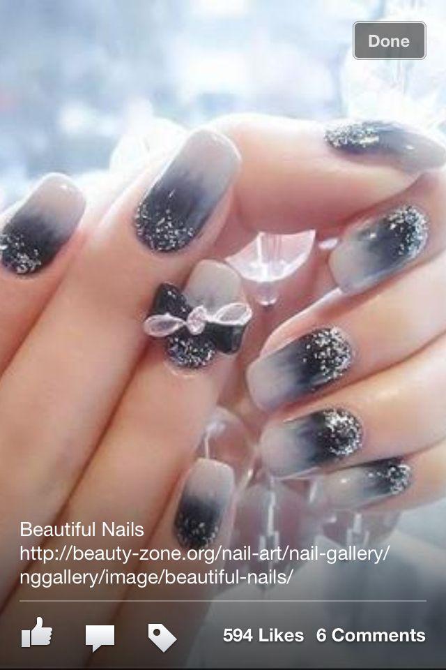 Ombre Nails White Gray Black Glitter Tip To Base Prom Nail Designs Prom Nails Black And White Nail Art