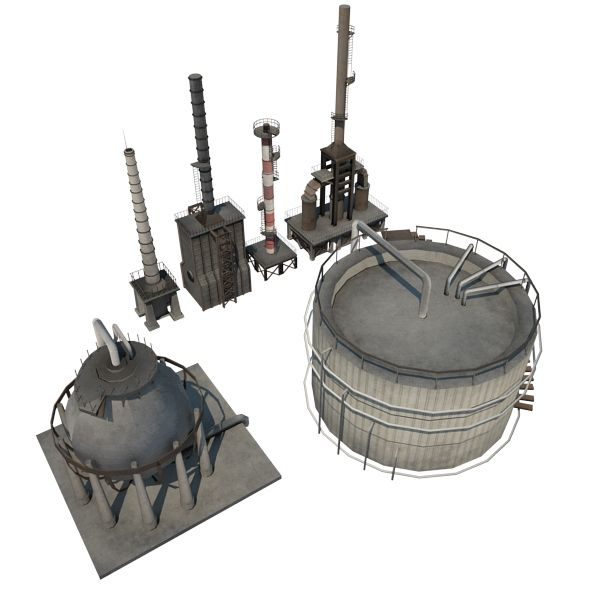 Oil Refinery 13 - game-ready 3d model by gamedev cgduck pro