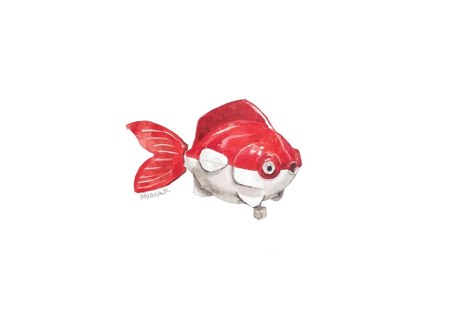 Red Toy Fish Print - Watercolor print - Toy fish print - Giclee ...