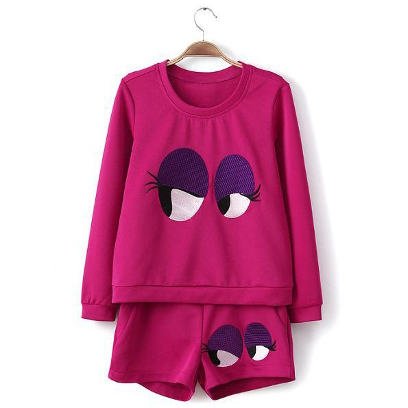 Casual Style Eyes Embroidery Long Sleeve Color Block Scoop Neck Cotton Women's Suit