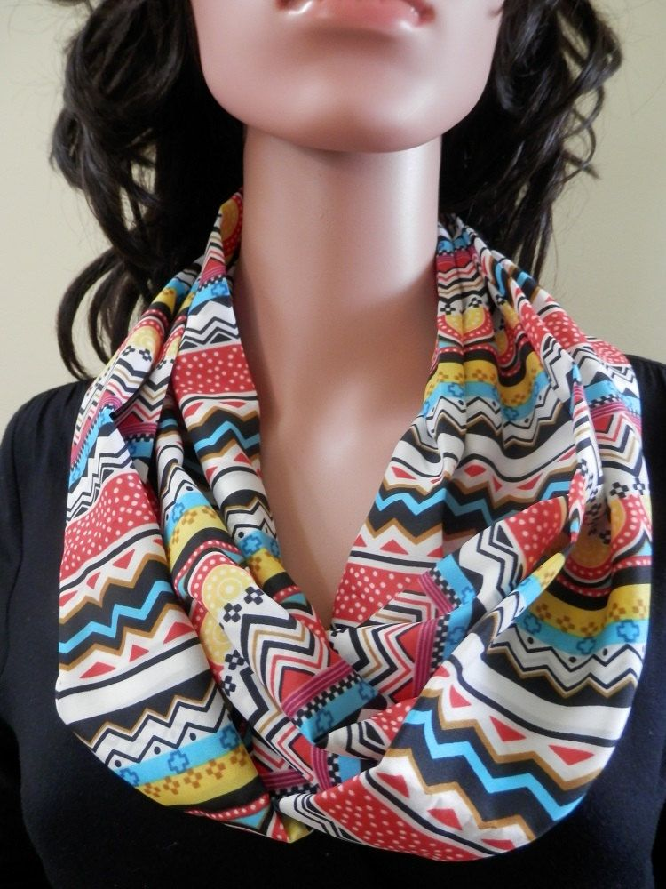 Colorful Multi Colored Designed Infinity Scarf by