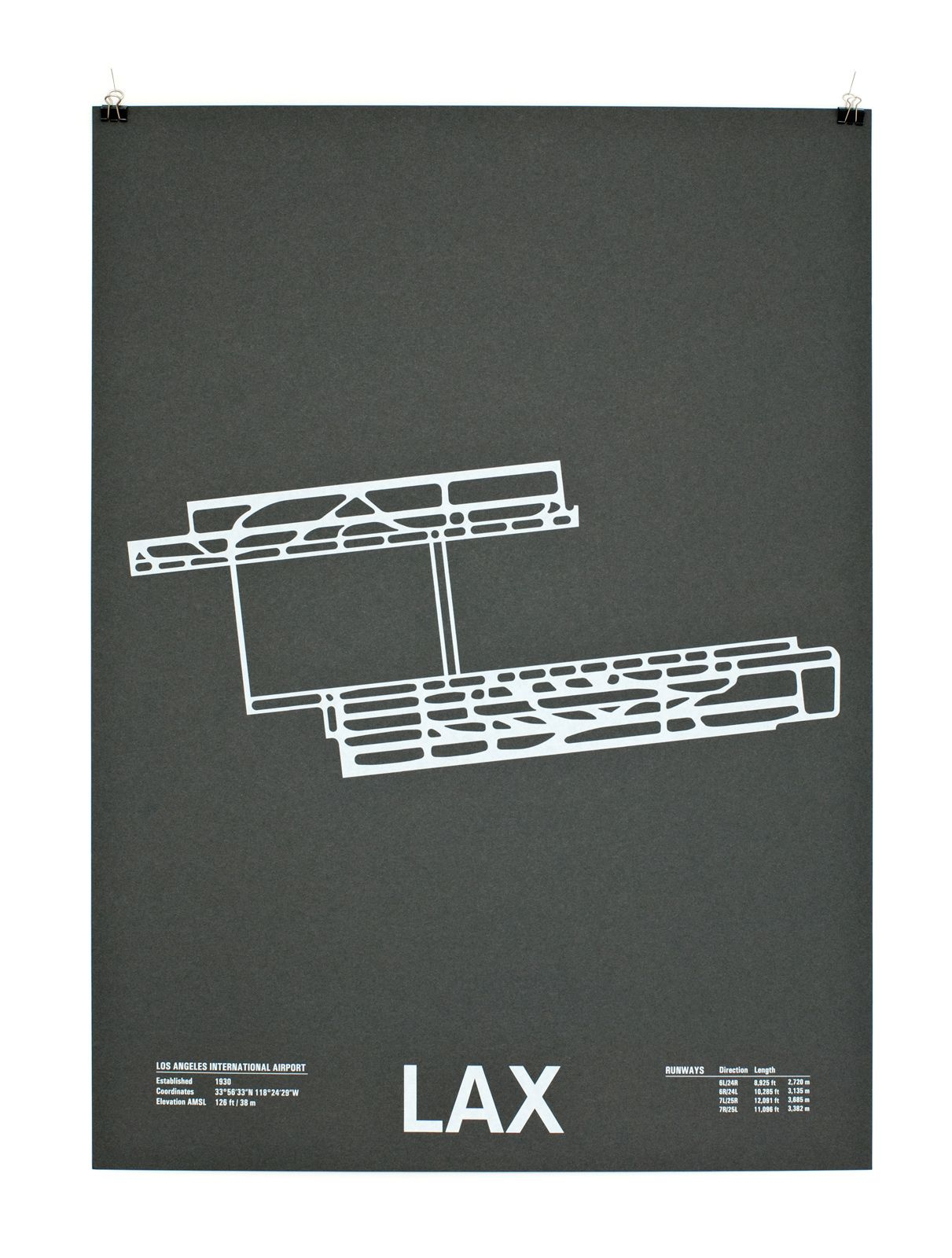 """Los Angeles International Airport. """"LAX"""" from """"Airport Runway Screenprints"""" by Nomo."""