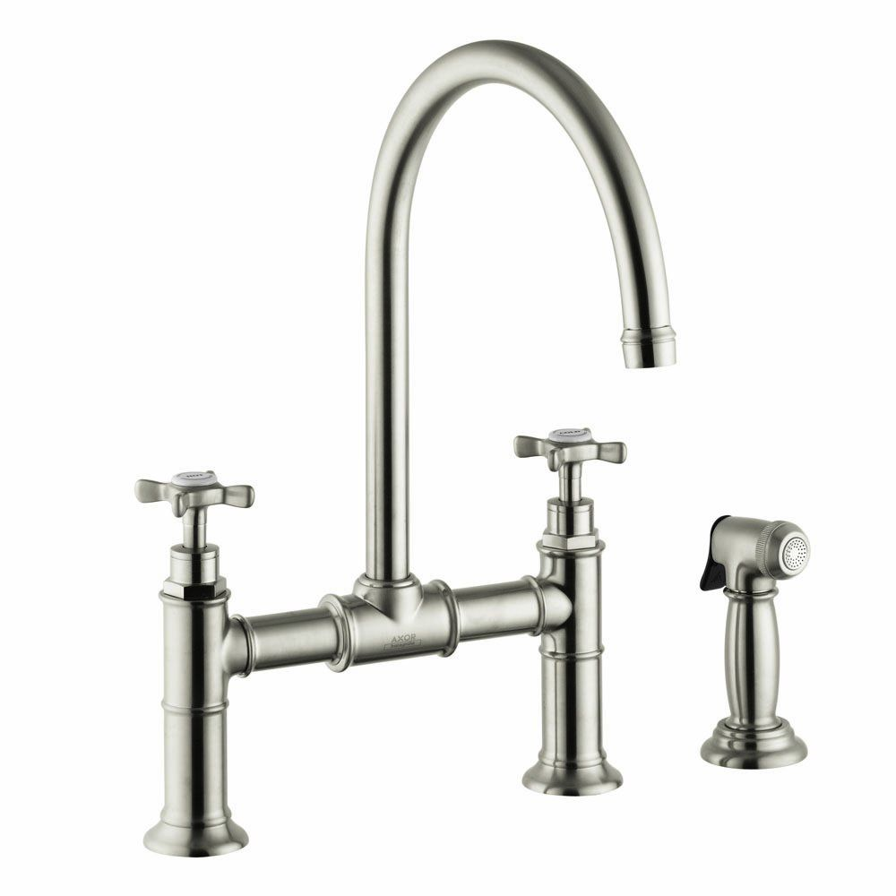 Hansgrohe 16808821 Axor Montreux Kitchen Bridge With Sidespray Cross Handle Brushed Nickel Touch On Kitchen Sink Faucets Amaz Kitchen Sink Faucets Pull Out Kitchen Faucet Sink