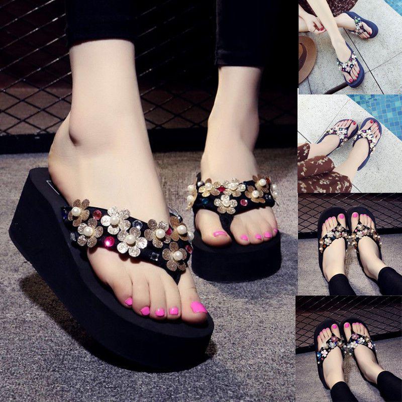 89d211bd051 Women Flower Wedge Heel Sandals Slippers Flip Flop Beach Casual Platform  Shoes