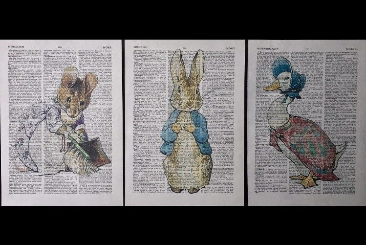 3X Beatrix Potter Prints Vintage Dictionary Page Wall Art Pictures ...