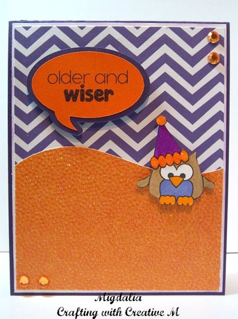"""Older and Wiser..Birthday card with the """"What a hoot"""" stamp set from Pink & Main."""