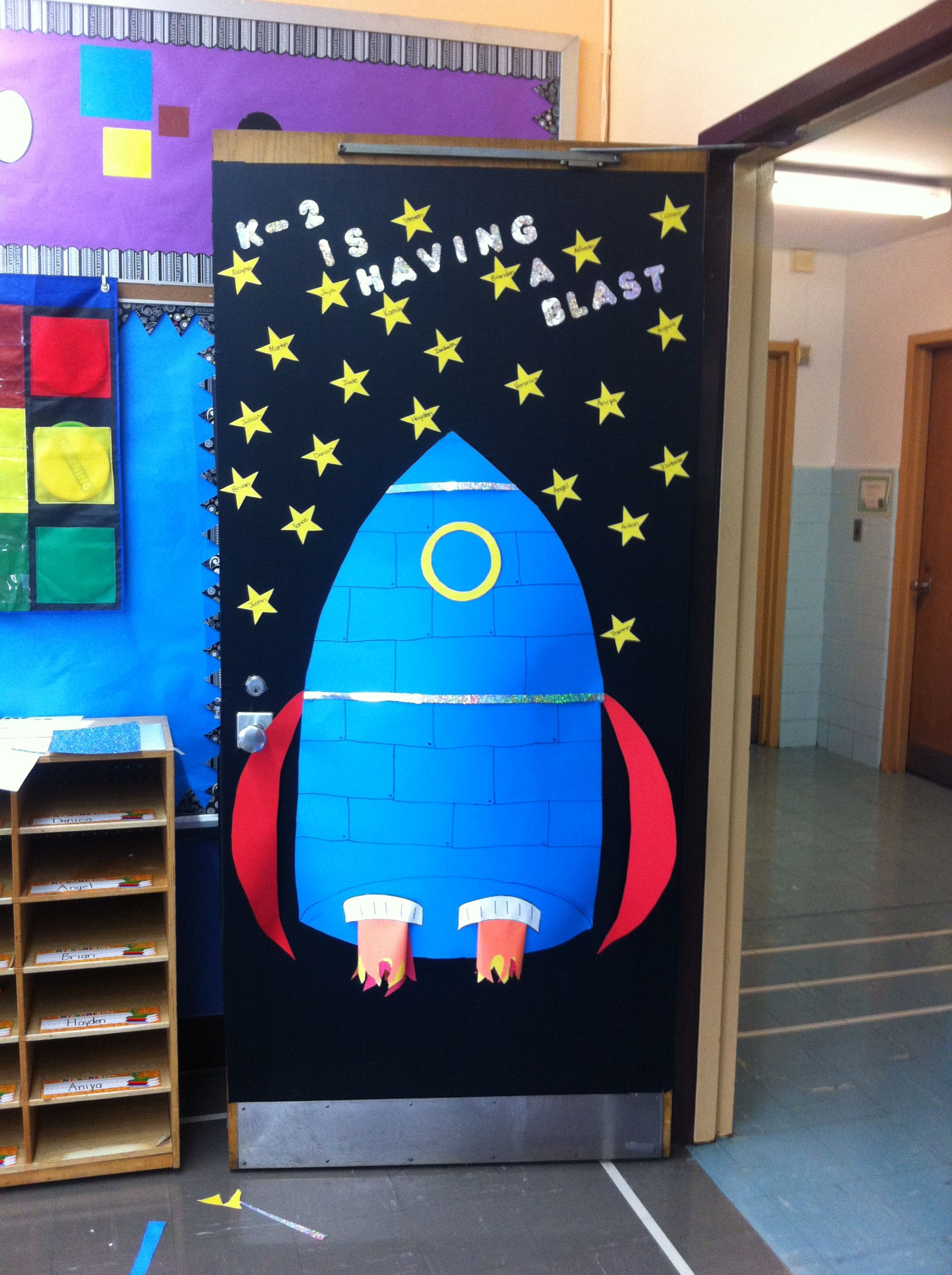 Decorating A Space Themed Classroom ~ My kindergarten classroom door education pinterest
