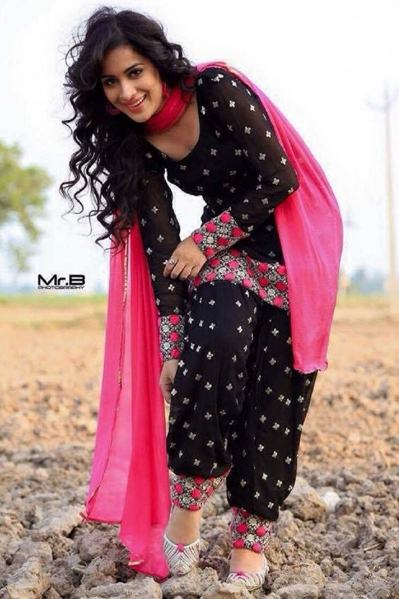 6a482bccfd Black Cotton Punjabi Salwar Kameez | Styles | Designer salwar suits ...
