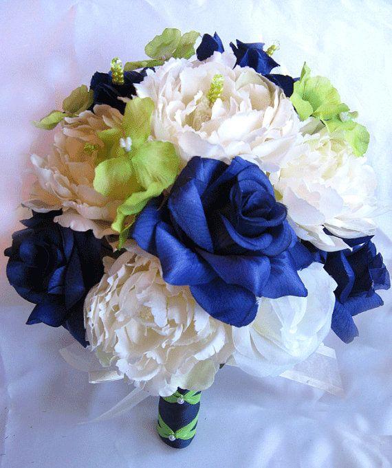 Wedding Bouquet Bridal Silk flowers Dark BLUE Apple GREEN IVORY 17 ...