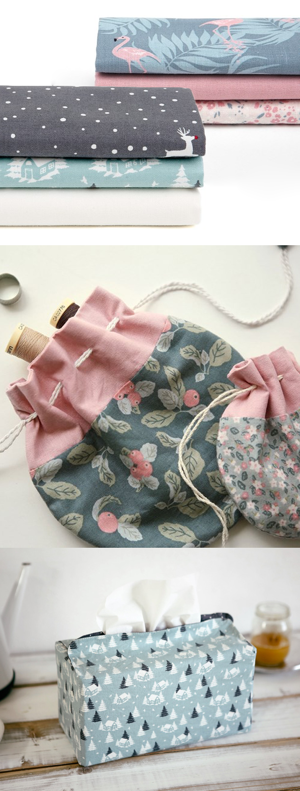 Create your own unique accessories and home decor with this cotton fabric set!