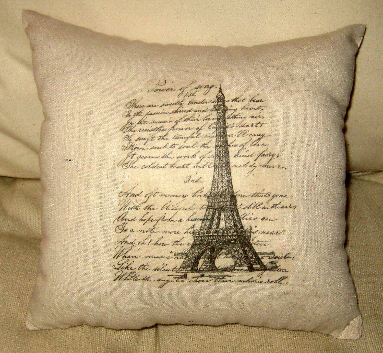 Paris Eiffel Tower Vintage Script Pillow, Shabby Chic Paris Inspired ...