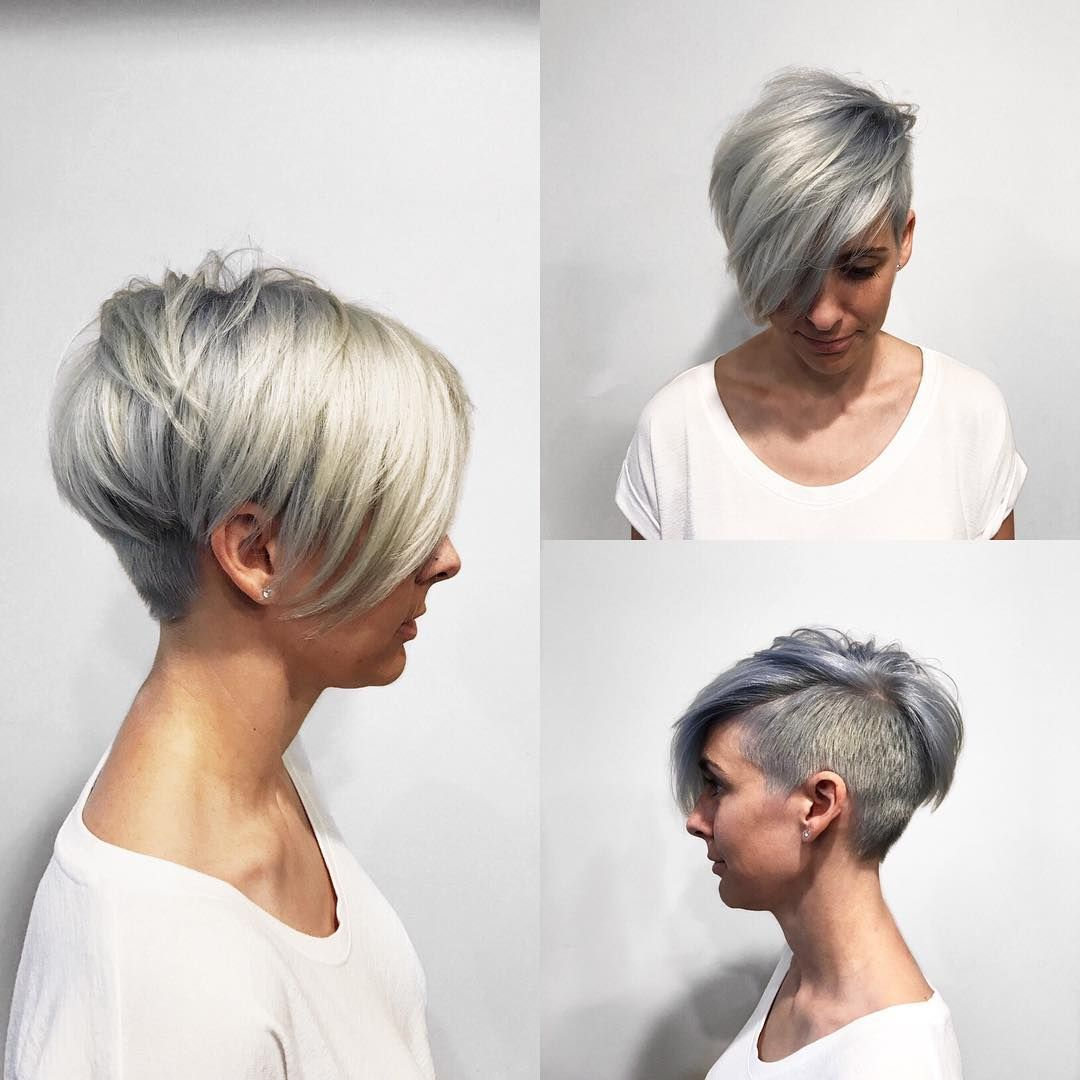 Textured Platinum Undercut Pixie With Long Side Swept Bangs And Metallic Silver Shadow Roots The Latest Hairstyles For Men And Women 2020 Hairstyleology Undercut Pixie Long Side Swept Bangs Undercut Hairstyles