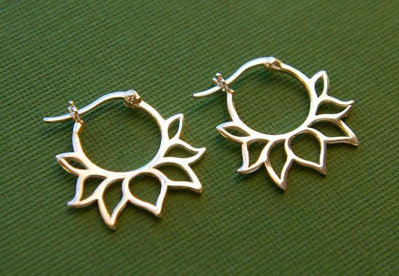 Lotus petal hoop earrings in sterling silver, silver hoops, latching, lotus shape, zen, silver hoop earrings on Etsy, $28.00