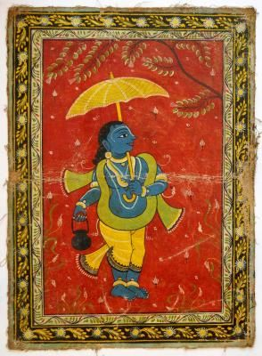 A LOVELY OLD RAJASTHAN MINIATURE PAINTED INDIAN POSTCARD OF MONKEY  108