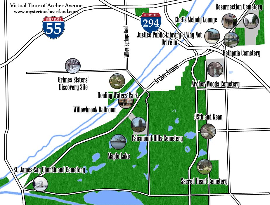 Virtual Tour of Archer Avenue: Chicagoland's Most Haunted Road Archer Avenue Map