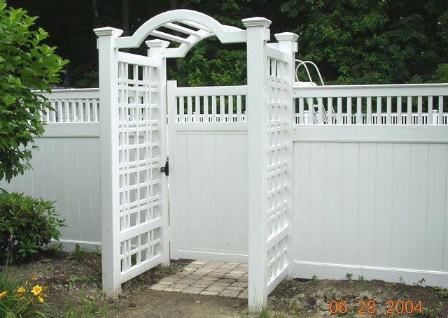 Vinyl Arbor With English Square Lattice By Elyria Fence Vinyl Fence Vinyl Privacy Fence Backyard Fences