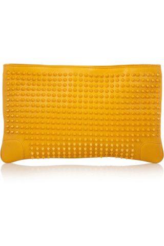 Christian Louboutin|Loubiposh spiked leather clutch|NET-A-PORTER.COM