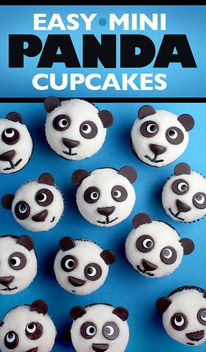 Panda-cupcakes_3743 by Bakerella, via Flickr So adorable. My daughter will be 2 this year and loves Lil Pim the Panda, so I'll be making these with a chocolate cake. According to the comments, a Wilton 1A decorator tip is comparable to the Ateco #807, unless I can find candy eyes.