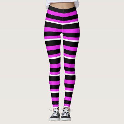 d1dbdae0a86152 Modern hot pink black white striped leggings   Zazzle.com in 2019 ...