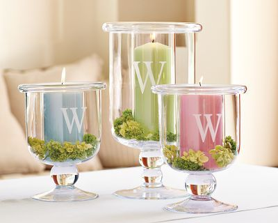 glass candle holders...