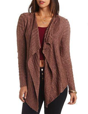 23e3e08d4b Slub Knit Cascade Cardigan Sweater  Charlotte Russe