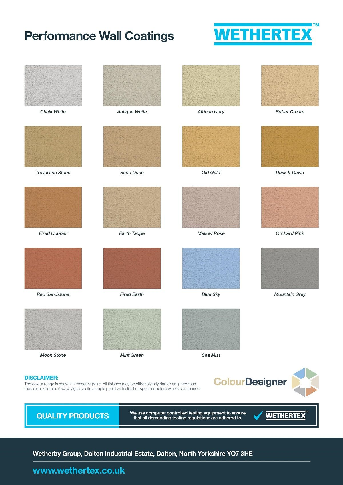 View The Colour Swatch And Color Chart To See What Our Beautiful Masonry Coatings Could Do