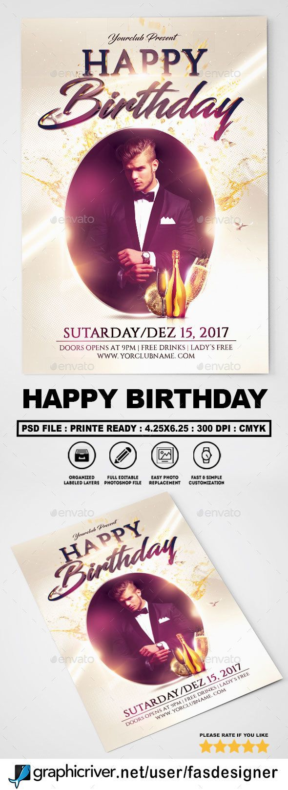 Happy Birthday Flyer Happy Birthday Flyer Template And Fonts