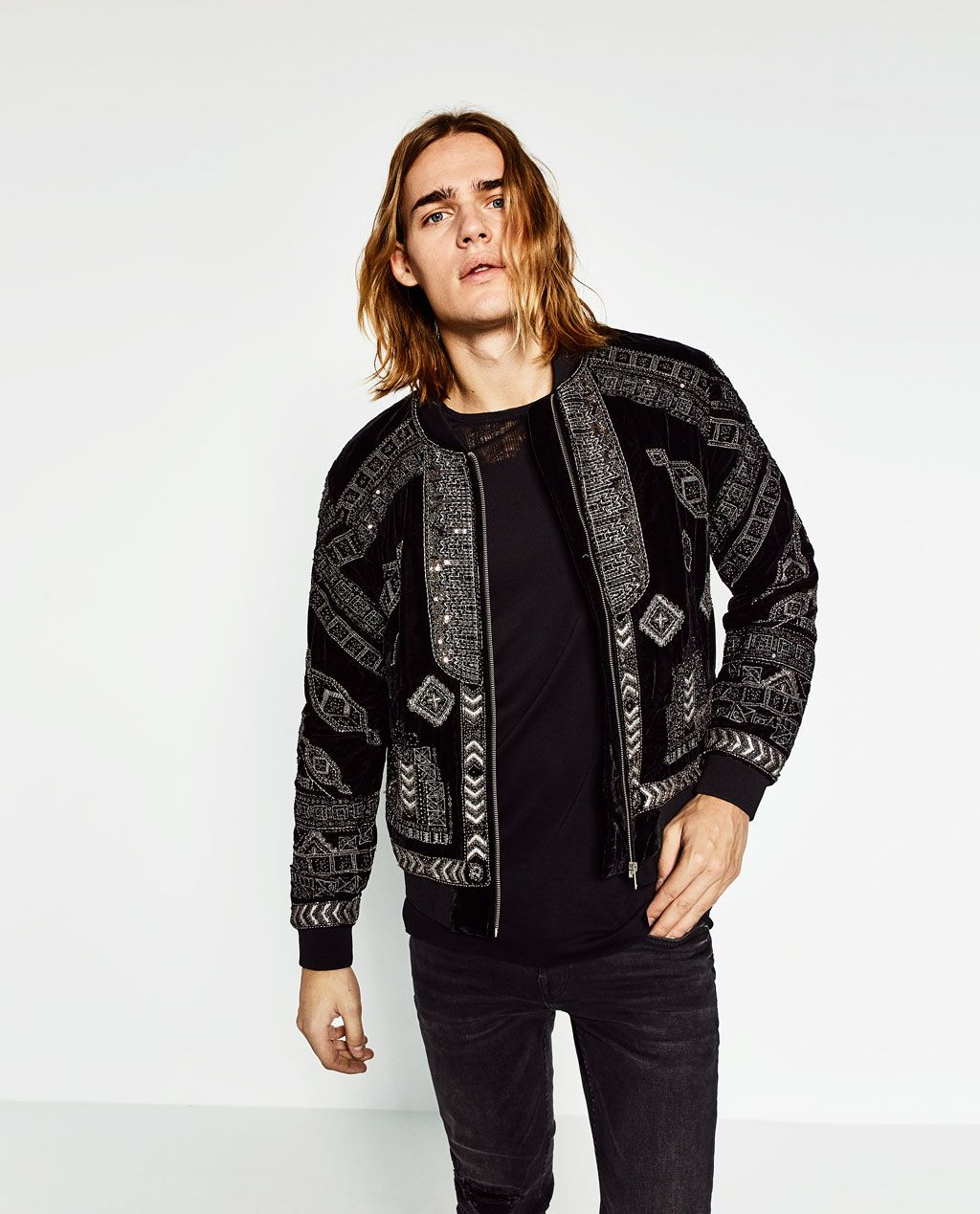 BOMBER JACKET WITH METALLIC DETAILS from Zara Homme