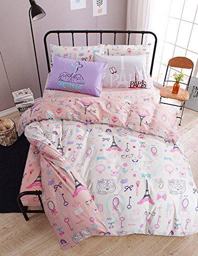 Adorable Paris Bedding Girls Reversible Comforter Set