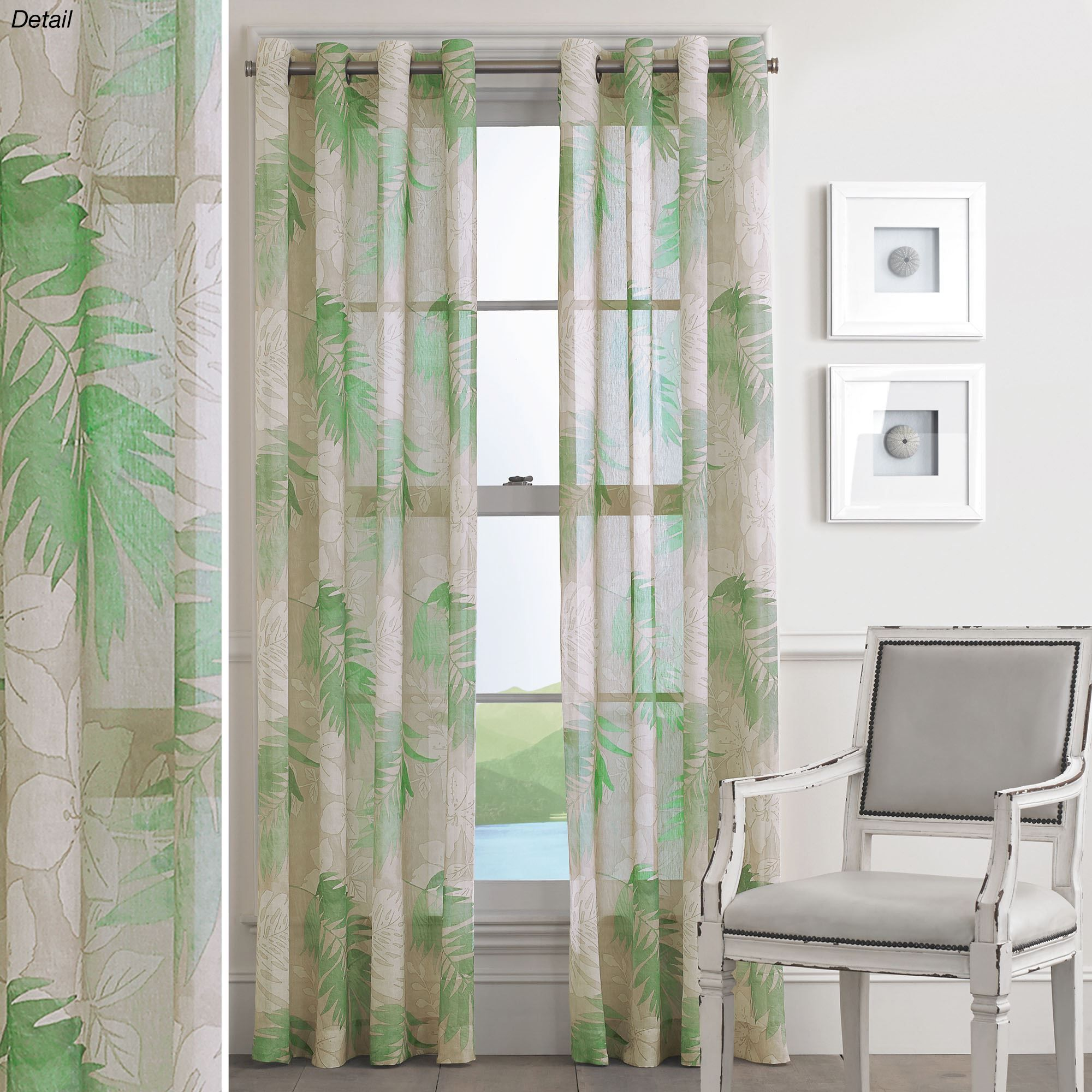 Green Curtains Panel Tropical Grommet Window Panels Curtain