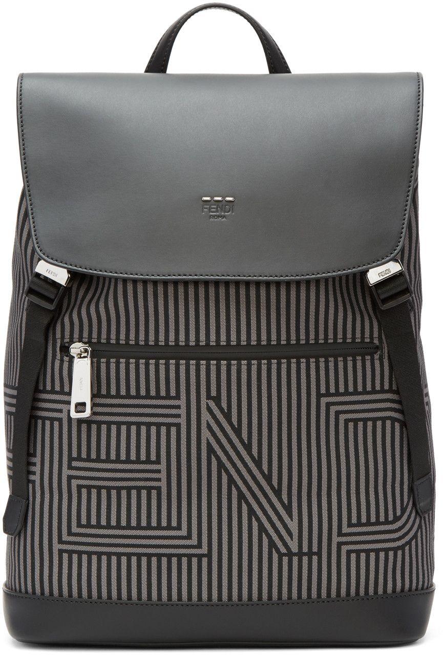 eae19a0f671f Fendi - Black & Grey Striped Logo Backpack | Mens Bag Research ...