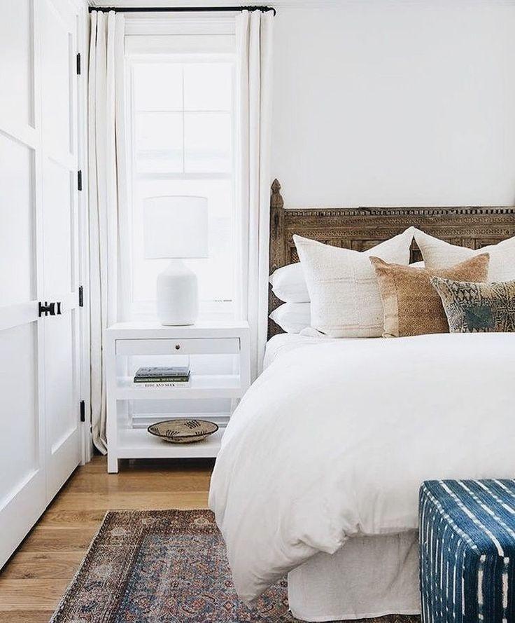 simple white bedroom // rustic wood headboard   Cozy home ...