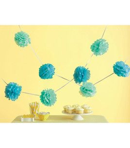 teal/blue mix, pom garland, 7.49 sale
