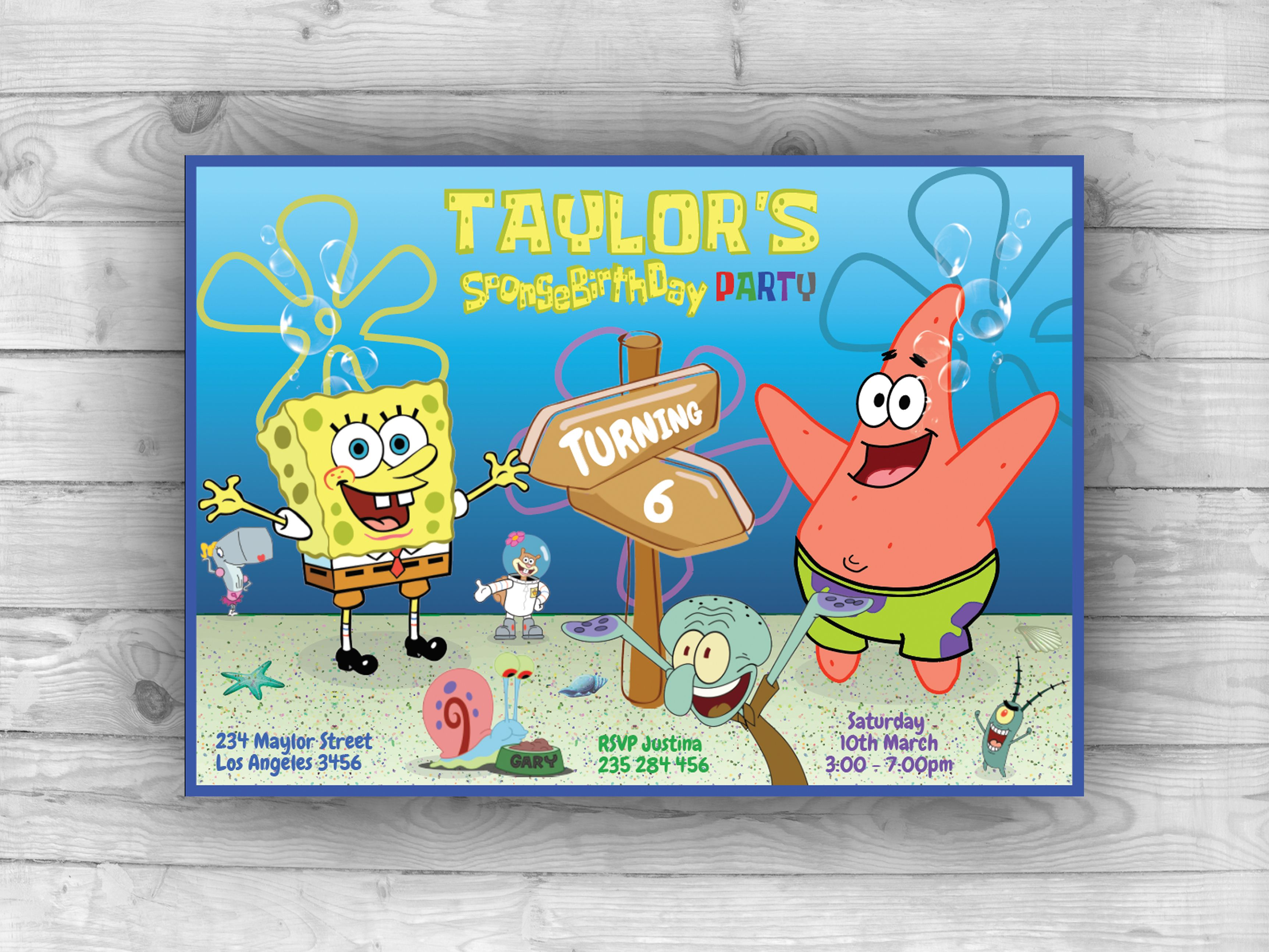 SpongeBob Invitation SpongeBob Birthday SpongeBob Party SpongeBob