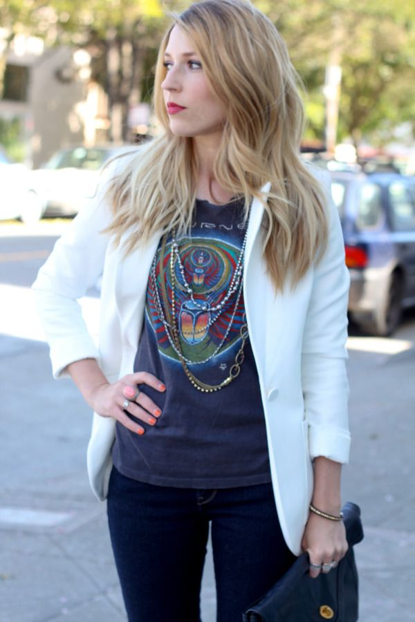 I Bought This Outfit It Looks Amazing On: Journey Band Tee!! Looks Amazing With The White Blazer I