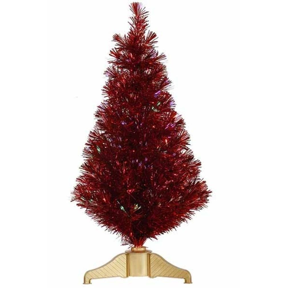 Best Deal On Artificial Christmas Trees: 3' Red Hot Fiber Optic Artificial Tinsel Christmas Tree