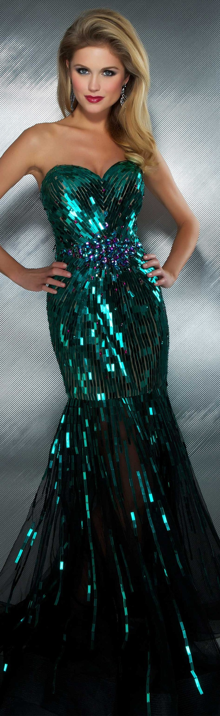 Mac duggal couture long glittery sequinned peacock green