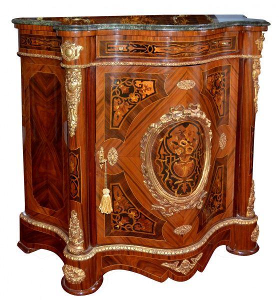 Dunquerque francesa com marcheterie e apliques em bronze med 105 x 105 x 49 cm - Apliques de bronce para muebles ...