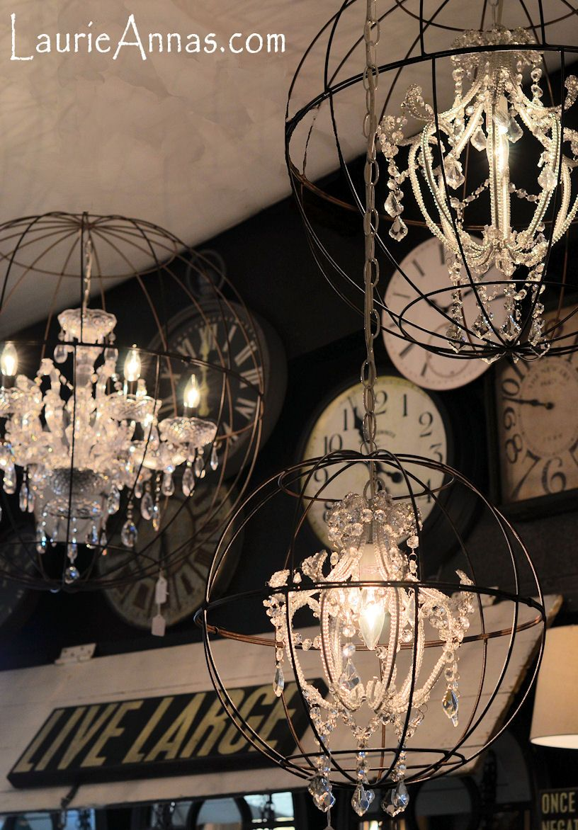 Awesome Idea To Put A Vintage Chandelier In An Iron Lawn Ball