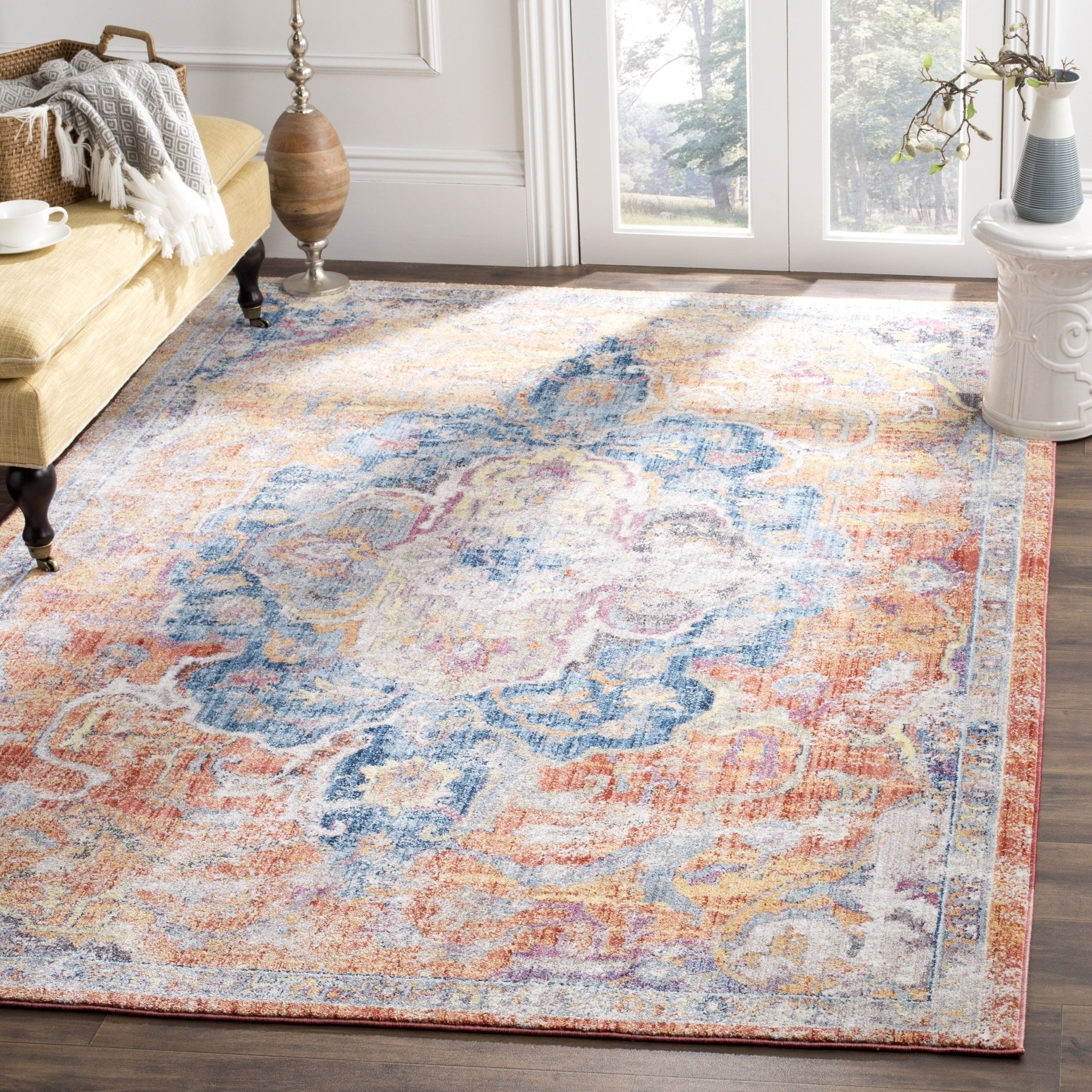 Coole Teppiche Safavieh Bristol Bohemian Oriental Blue Orange Area Rug 7