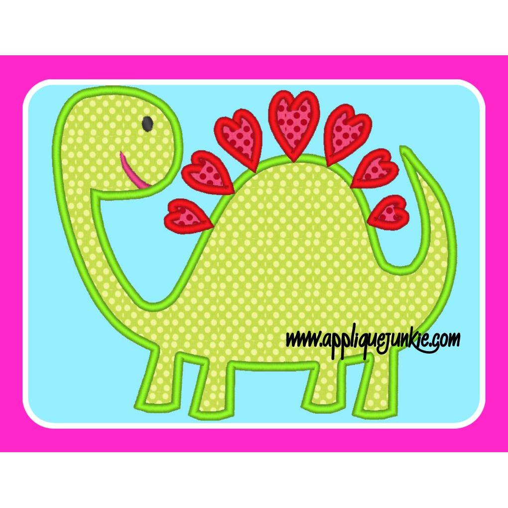 Heart Back Dinosaur Valentine Applique Design Appliqued