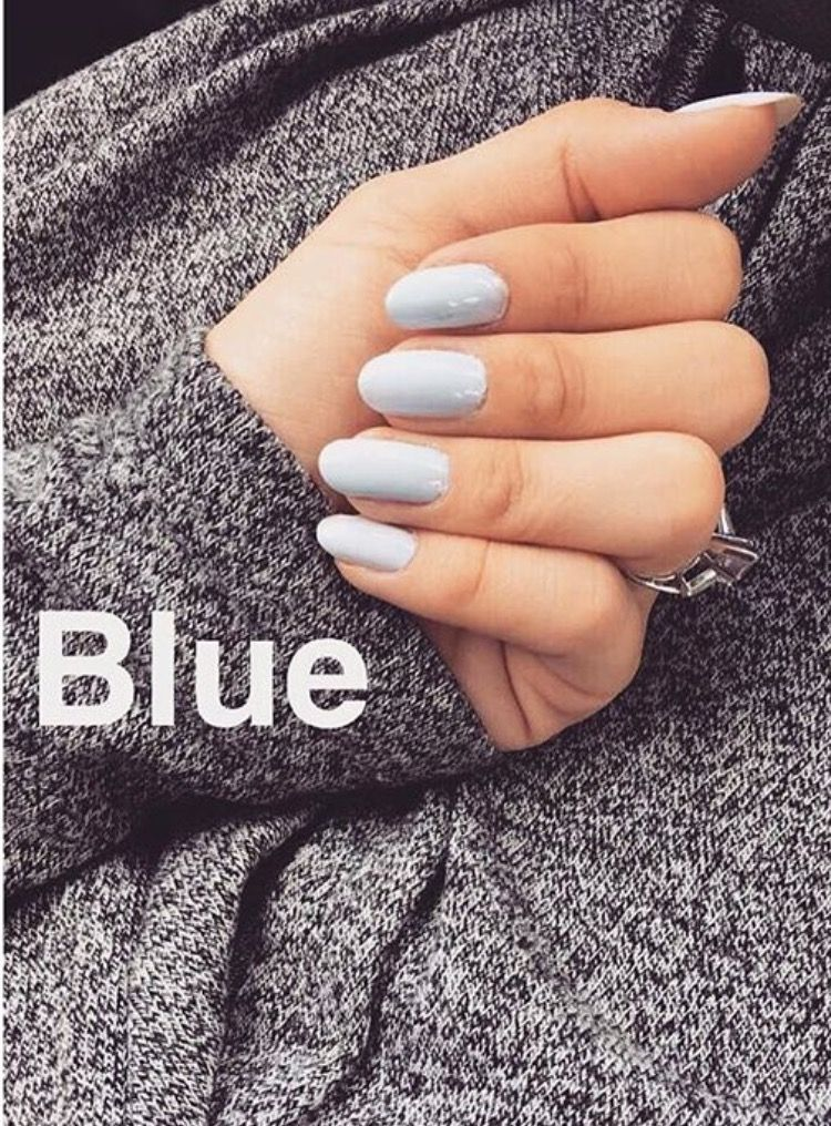 Sky Blue Colored Glam Chic Lux Nails Nail Ideas Polish Art Long ...