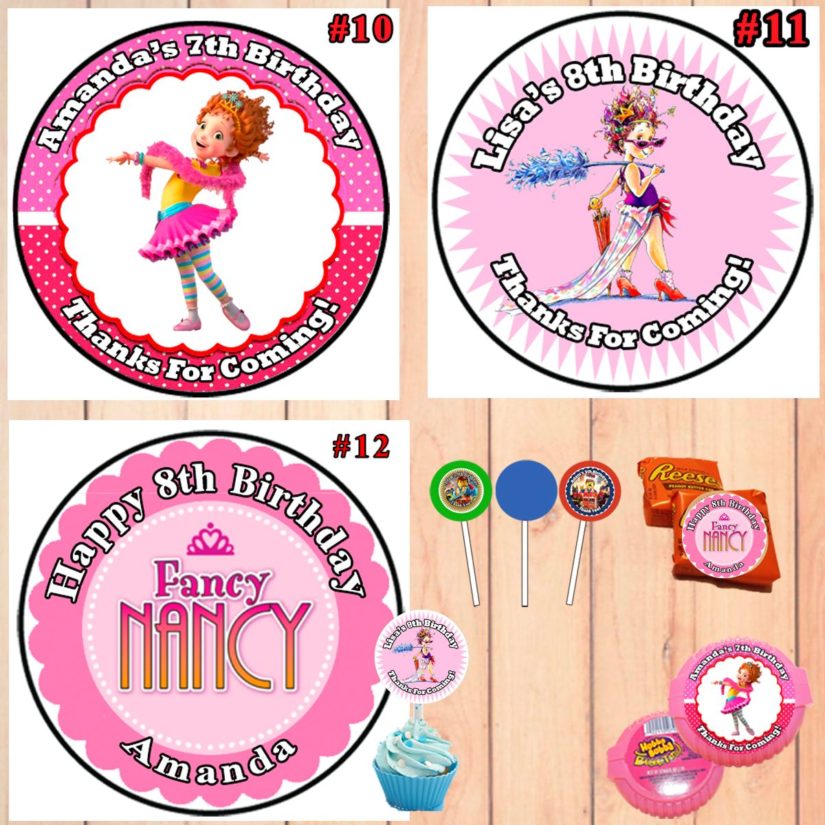 10 LARGE PERSONALISED GLOSSY BABY GIRL 1ST BIRTHDAY PARTY BAG FOOD BOX STICKERS