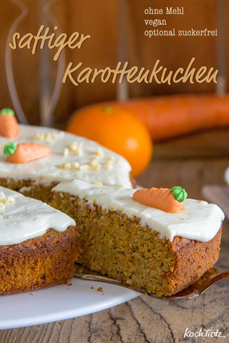 Saftiger Karottenkuchen ohne Mehl | optional zuckerfrei und vegan – KochTrotz | kreative Rezepte
