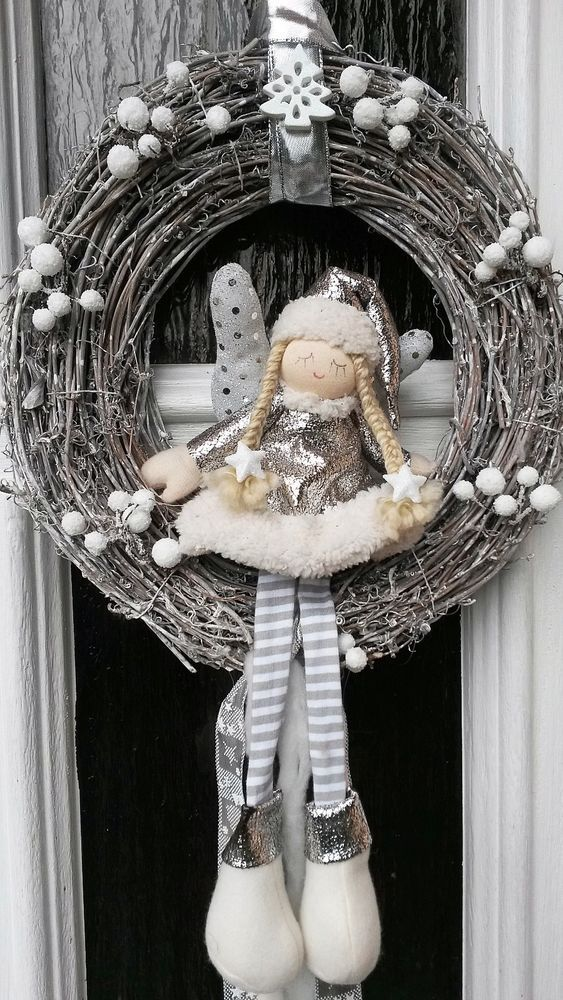 weihnachtskranz t rkranz deko adventskranz tilda art kranz weiss shabby chic wreaths. Black Bedroom Furniture Sets. Home Design Ideas