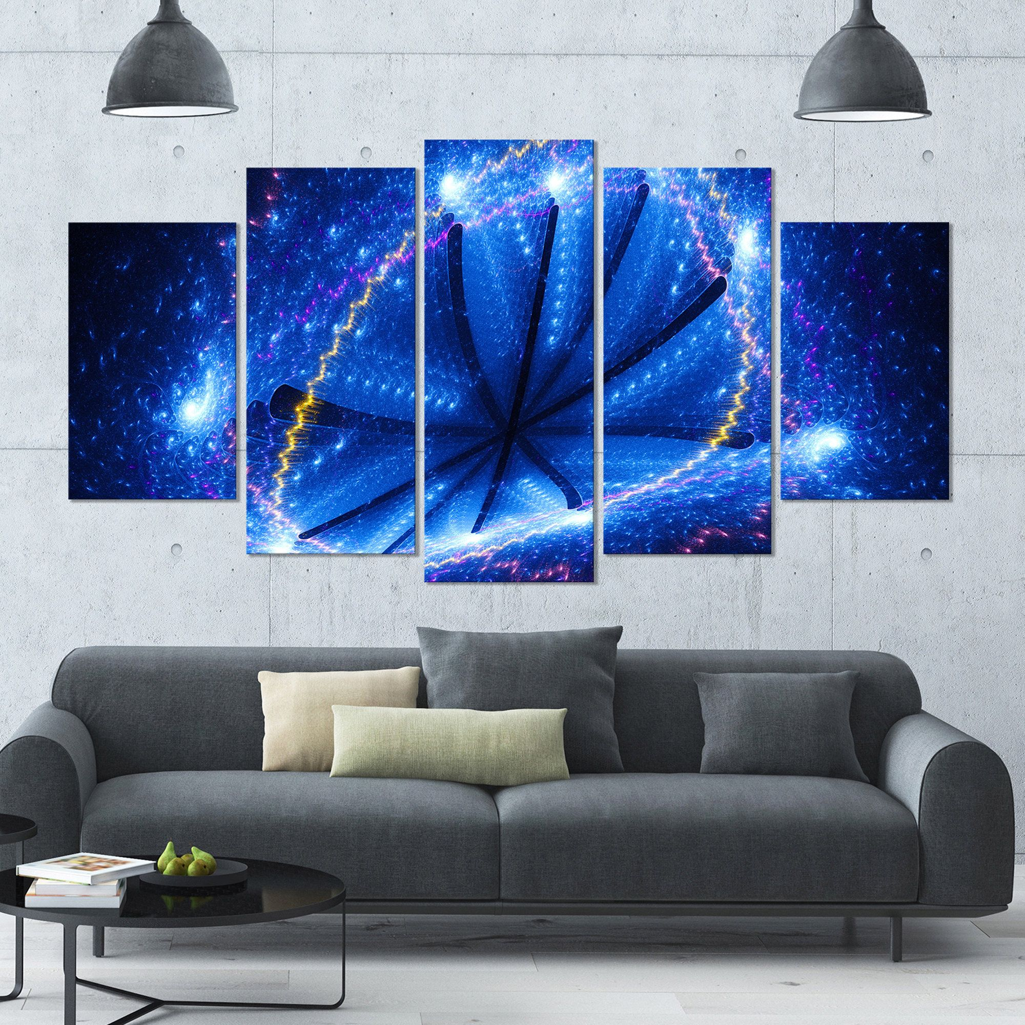 Designart \'Blue Star Clusters\' Abstract Canvas Wall Art - 60x32 - 5 ...
