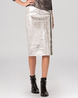 9b6c9ee9dc Maje Skirt - Gallium Metallic Leather | Bloomingdale's | All Dressed ...