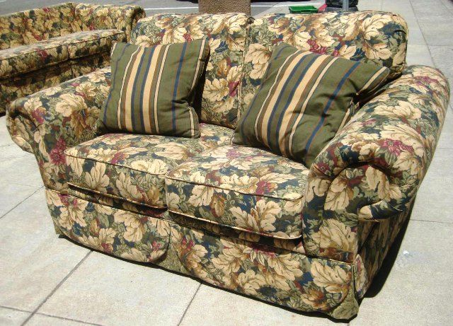 Neutral Flower Pattern Love Seat And Sofa Furniture In