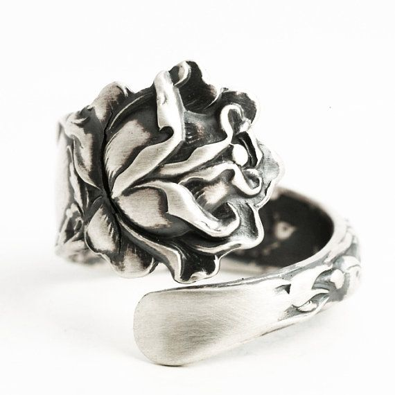 Silver Rose Ring, Spoon Ring Sterling Silver, Rose Flower Ring ...