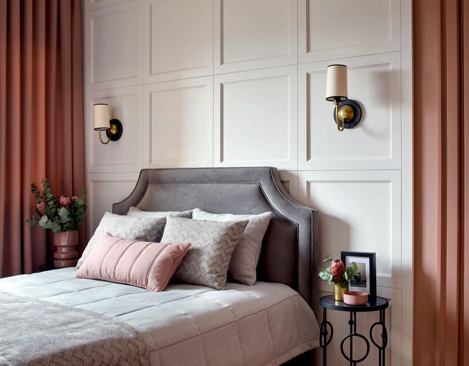 Отделка стены за кроватью в спальне   Фото красивых ...